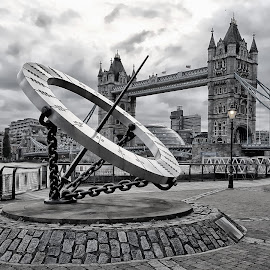 Tower Bridge and Sundial by Fiona Etkin - Black & White Buildings & Architecture ( sundial, london, black and white, tower bridge, architecture, city,  )