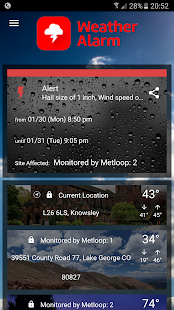 Weather Alarm screenshot for Android
