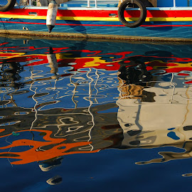 Boat reflection by Pixie Simona - Abstract Light Painting ( water, reflection, harbor, blue, habrour, sea, reflections, seascape, boat,  )