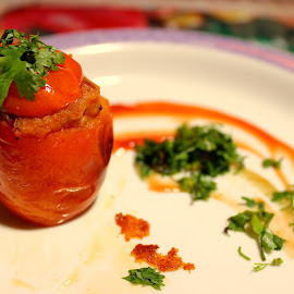 Stuffed Tomatoes by Lakshmi Sharoff - Food & Drink Cooking & Baking ( foodie, food shots, food photography, cooking, tomatoes )