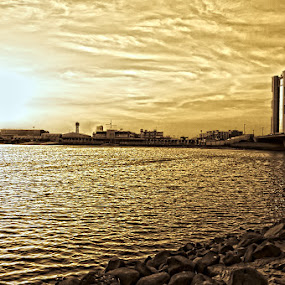 Golden Hours by Elmer Tendero - Landscapes Waterscapes ( water, jeddah, hdr, sea, gold, golden, saudi arabia )