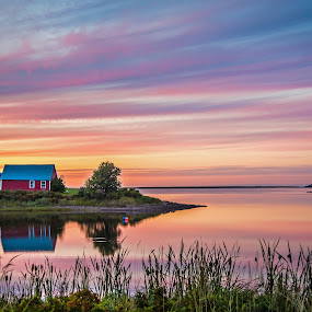 Evening on the Bay by Rita Taylor - Landscapes Sunsets & Sunrises ( water, waterscape, shack, sunset, cove, nightfall,  )