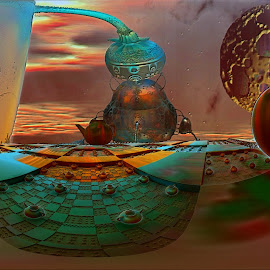 Teapot Gardens; At The Distillery by Rick Eskridge - Illustration Sci Fi & Fantasy ( b/g mb3d, b/g amazing images, mb3d, fractal, twisted brush )