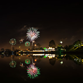 Raya Fireworks In Kuching by Stuart Rango - Abstract Fire & Fireworks (  )
