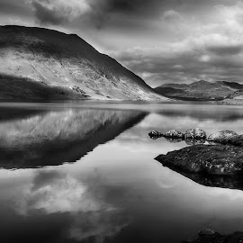 Crummock Water by Ceri Jones - Black & White Landscapes ( water, hills, mountains, park, national, reflections, lake, district, crummock, shapes )