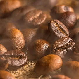 Coffee roasting2 by Ovidiu Sova - Food & Drink Ingredients ( aroma, coffee beans, brown, roasted, steam )