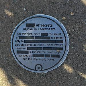 One of a series of parody mini-plaques that have appeared in North Berkeley neighborhoods in the spring of 2019 (I hadn't noticed them before that, anyway). Other examples on Solano Avenue and at ...
