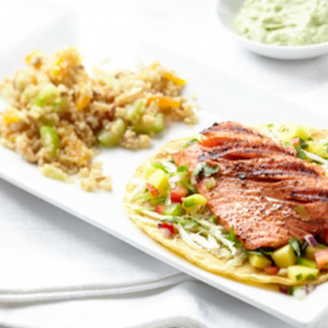 Alaska Salmon Tacos With Mango Salsa and Avocado Cream