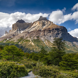 Towers of Blue by Vinod Kalathil - Landscapes Mountains & Hills ( clouds, torres del paine, chile, mountain, patagonia, landscape, hiking )