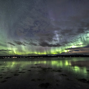 aurora dancing by Benny Høynes - Landscapes Starscapes ( canon, green, northern lights, aurora, norway,  )