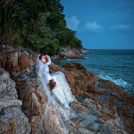White Gown by Budin DaneCreative - Wedding Bride ( wedding, sea, gown, beach, bride )