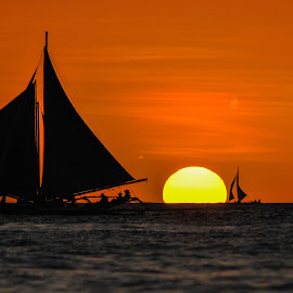 Enjoying the Sunset by Ynon Francisco - Transportation Boats ( sunset, boracay, sea, beach, philippines, island )