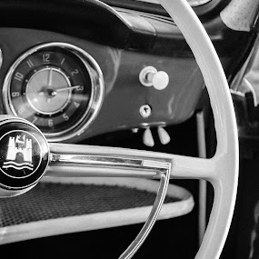 Karmann Ghia Interior Balck and White by Jean Plessis - Transportation Automobiles ( karman ghia, vw, interior, classic car, black and white )