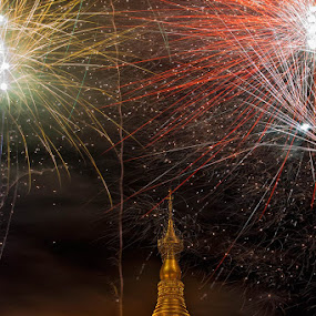 STUPA & FIREWORKS by Johan Joe - Landscapes Travel