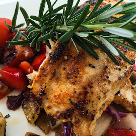 Rosemary Chicken by Judy Rosanno - Food & Drink Plated Food ( chicken, peppers, tomato, herbs, food, plated food, pineapple, rosemary,  )