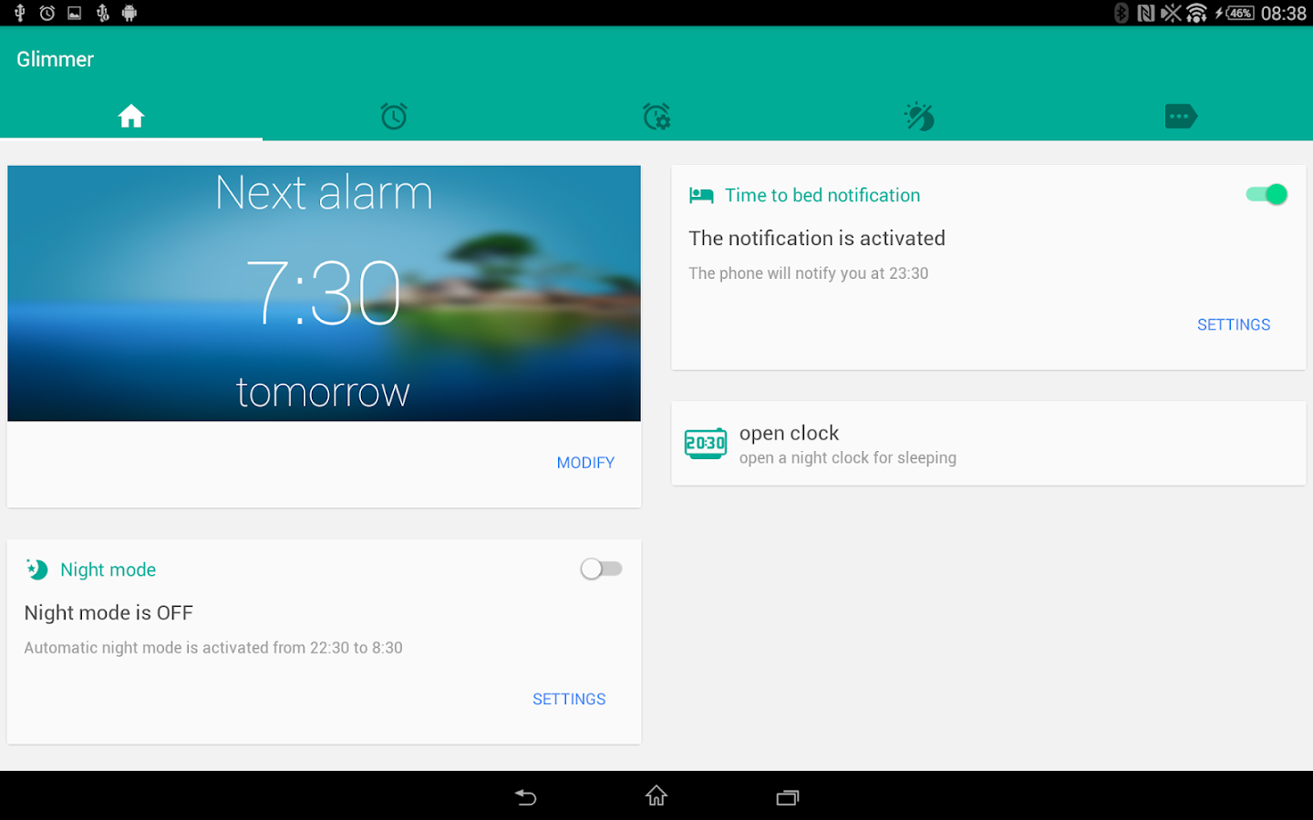 Glimmer (luminous alarm clock) Screenshot 8
