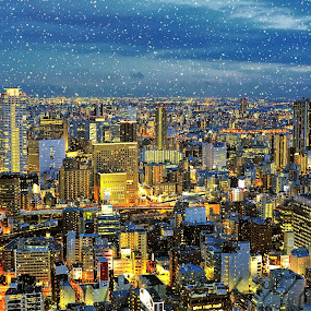 Winter's gifts to my city by Hiro Ytwo - City,  Street & Park  Skylines ( winter, snow, night, light, city )