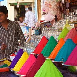 marketplace by Mike Mulligan - People Street & Candids ( dyed powder, market, color, outdoors, india )