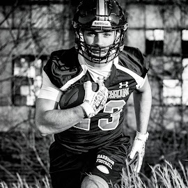High School Athlete - Senior by Melissa LaGuire - Sports & Fitness American and Canadian football ( senior portrait, blackandwhite, football, sports, athlete )