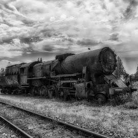 Locomotive by Maja Tomic - Transportation Trains ( old, black and white, locomotive, train, abandoned )