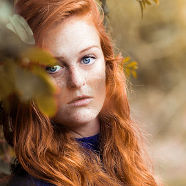 by Roxanne Wentzel - People Portraits of Women ( lace, ginger, blue eyes, blue dress, red head )