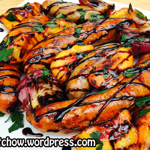 Grilled Sausage, Peaches and Onions Topped with Balsamic Glaze