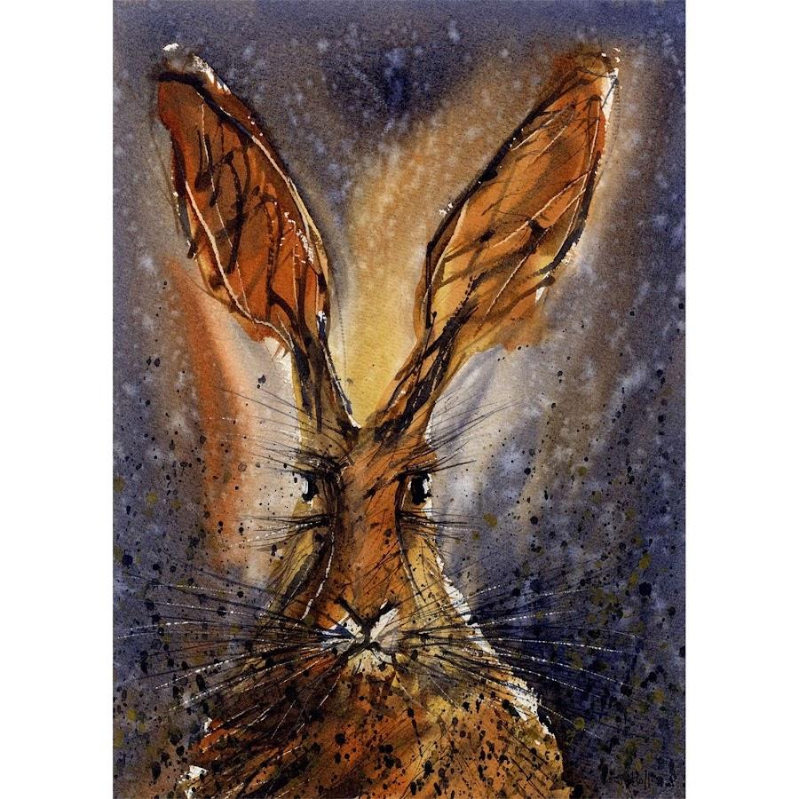 Animal art wildlife portrait animal painting hare rabbit bunny print