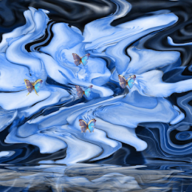 Butterfly Sea by Amada Gonzalez - Abstract Patterns ( abstract, art, sea, seascape, digital )