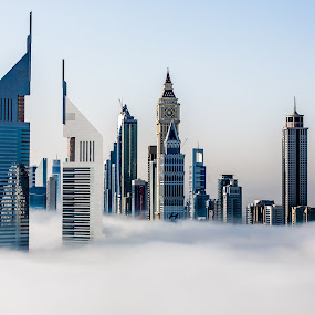 Fog in Dubai by Jaideep Abraham - City,  Street & Park  Skylines ( arabian gulf, tall buildings, dubai, skyscrapers, fog, sheikh zayed road, twin towers, weather )
