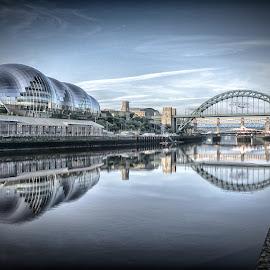The River Tyne by Adam Lang - City,  Street & Park  Vistas ( sage, river tyne, quayside, gateshead, newcastle, tyne bridge )