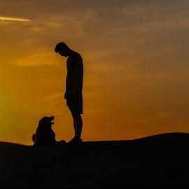 Unconditional by Apollo Reyes - People Street & Candids ( dawn, sky, dog, dusk, boy, man )