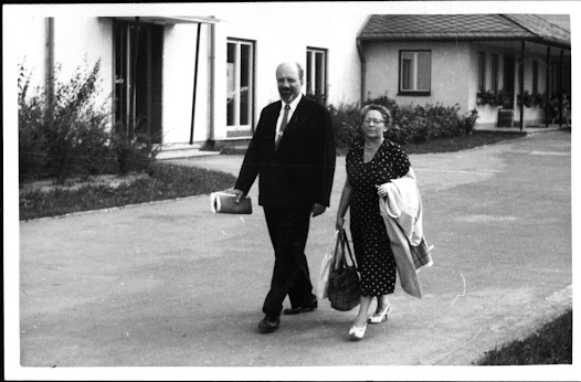 Margita Matz usually accompanied her husband on his international trips.  Here they are photographed in Bayreuth, Germany.