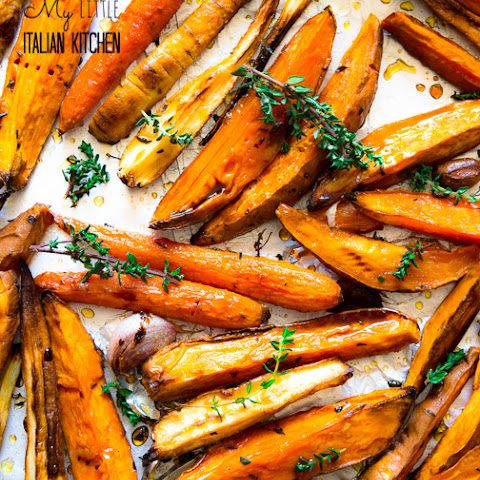 Roasted Sweet Potatoes And Parsnips With Honey Balsamic Glaze