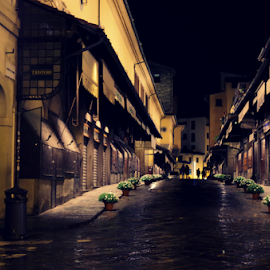 PonteVecchio by Jessica Pollice - City,  Street & Park  Historic Districts ( old, tuscany, florence, night, bridge, city at night, street at night, park at night, nightlife, night life, nighttime in the city )