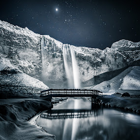Seljalandsfoss by Derek Kind - Landscapes Starscapes ( icelandic, seljalandsfoss, iceland, waterfalls, stars, waterfall, star, bridge, starscape )