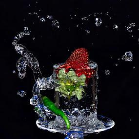 STRAWCHILI SPLASH by Angelo Jadulco - Food & Drink Fruits & Vegetables ( water, splash, glass, strawberry, chili )