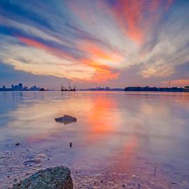 Sunrise by Kevin Chua - Landscapes Sunsets & Sunrises ( reflection, vibrance, sunrise, landscape, singapore )