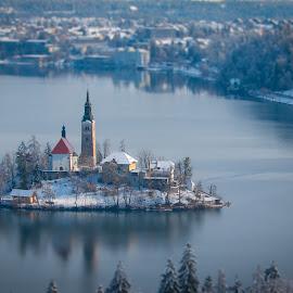 by Mario Horvat - City,  Street & Park  Vistas ( water, sneg, touristic, winter, slovenija, church, snow, slovenia, bled, lake, travel, jezero, island,  )