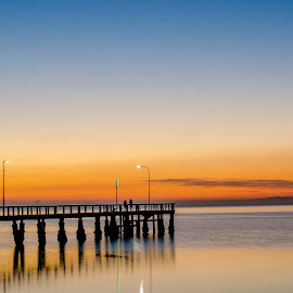 Sunrise at the Jetty by Taz Graham - Buildings & Architecture Bridges & Suspended Structures ( skyline, australia, pier, ocean, sunrise, jetty, skies )