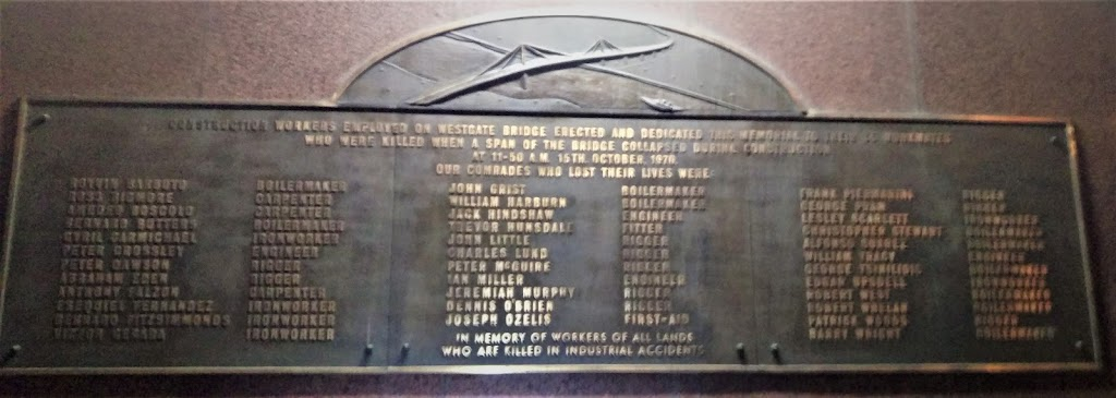 Plaque reads: 'Construction workers employed on Westgate bridge erected and dedicated this memorial to their co-workers who were killed when a span of the bridge collapsed during construction At ...
