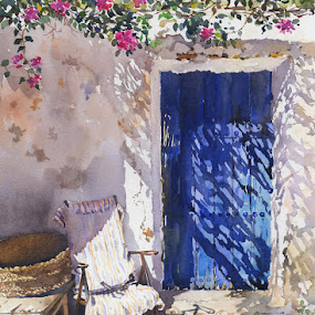 Blue door by Margaret Merry - Painting All Painting ( watercolor, watercolours, illustrations, farmhouse, cortijo, blue door, spain, margaret merry. paintings, parque natural, spanish art, animal illustrations, cabo de gata, andalucia, puerta azul, artist, prints, painting, almeria, paintngs of andalucia )