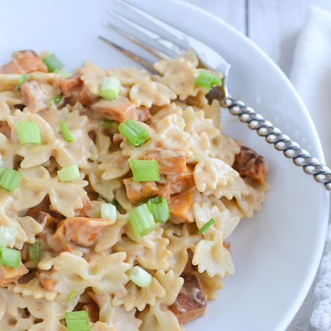 Roasted Sweet Potato Pasta with Spicy Peanut Sauce