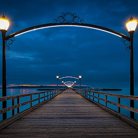Crack of Dawn by Garry Dosa - Buildings & Architecture Bridges & Suspended Structures ( water, sky, dawn, blue, pier, ocean, sunrise,  )