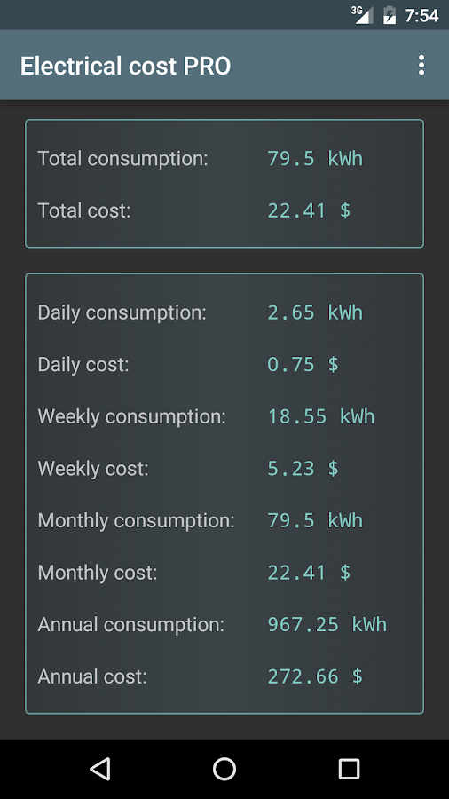 Electrical Cost Screenshot 2