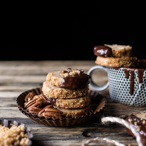 Slice 'N' Bake Vanilla Brown Butter Pecan Cookies...Dipped in Chocolate.