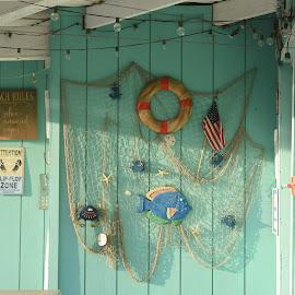 Beach Cabanas  by Lorraine D.  Heaney - Buildings & Architecture Architectural Detail