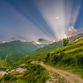 Sunset with Dramatic Rays by Shabbir Shani - Landscapes Sunsets & Sunrises ( pakistan, mountains, north pakistan, sunset, shabbirshaniphotography, sunrays, sun flares, sun rays )