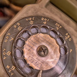 Dusty Telephone by Marco Bertamé - Artistic Objects Other Objects ( old, vintage, letter, numer, dirty, round, circle, telephone, dial plate, dusty )