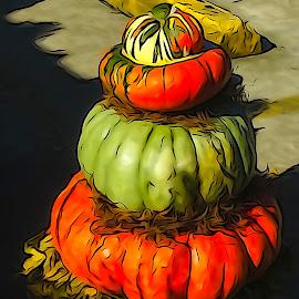 Pumpkin Pyramid by Dave Walters - Digital Art Abstract ( colors, digital art, fall, pumpkins, sony hx400v,  )