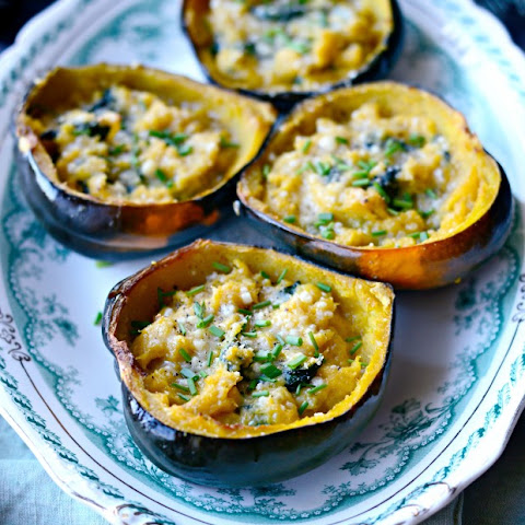 Twice Baked Spinach and Parmesan Acorn Squash